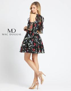 Style 40858 Mac Duggal Black Size 14 Embroidery Floral Cocktail Dress on Queenly