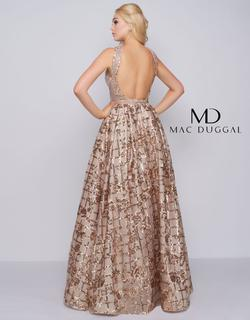 Style 40887 Mac Duggal Gold Size 2 Floral A-line Pageant Ball gown on Queenly