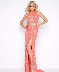 Style 4360 Mac Duggal Orange Size 10 Two Piece Prom Train Jewelled Side slit Dress on Queenly
