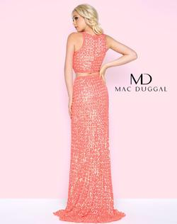 Style 4360 Mac Duggal Orange Size 12 Train Jewelled Sleeves Side slit Dress on Queenly