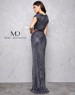 Style 4431 Mac Duggal Black Size 8 Tall Height Cap Sleeve V Neck Straight Dress on Queenly