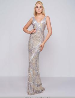 Style 4436 Mac Duggal Silver Size 6 Halter Backless Straight Dress on Queenly