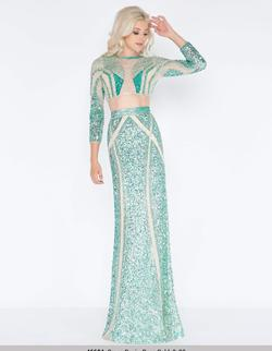 Queenly size 12 Mac Duggal Green Straight evening gown/formal dress