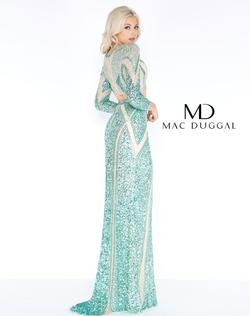 Style 4660 Mac Duggal Green Size 16 Sleeves Tall Height Sequin Straight Dress on Queenly