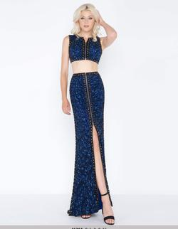 Style 4672 Mac Duggal Blue Size 2 Tall Height Side slit Dress on Queenly