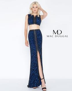 Style 4672 Mac Duggal Blue Size 4 Tall Height Side slit Dress on Queenly