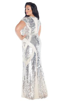 Style 4676 Mac Duggal Silver Size 14 Pageant Cap Sleeve Straight Dress on Queenly