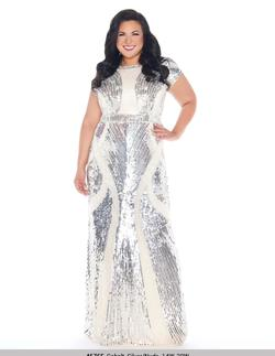 Queenly size 14 Mac Duggal Silver Straight evening gown/formal dress