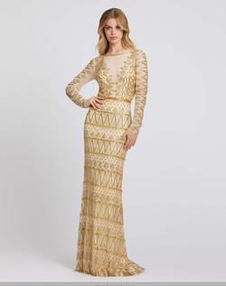 Style 4724 Mac Duggal Gold Size 8 Long Sleeve Backless Straight Dress on Queenly
