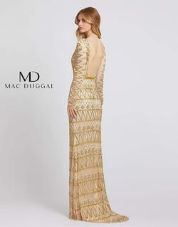 Style 4724 Mac Duggal Gold Size 16 Sleeves Backless Straight Dress on Queenly