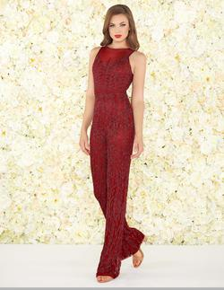 Style 4736 Mac Duggal Red Size 4 Velvet Pageant Jumpsuit Dress on Queenly