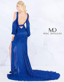 Style 4804 Mac Duggal Royal Blue Size 4 Pageant Sequin Side slit Dress on Queenly