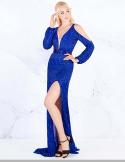 Style 4804 Mac Duggal Royal Blue Size 8 Pageant Sequin Side slit Dress on Queenly