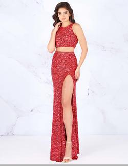 Style 4810 Mac Duggal Red Size 4 Prom Two Piece Pageant Side slit Dress on Queenly