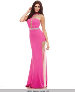 Style 48271 Mac Duggal Hot Pink Size 0 Tall Height Side slit Dress on Queenly