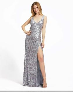 Queenly size 12 Mac Duggal Silver Side slit evening gown/formal dress