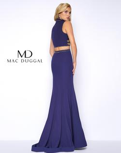 Style 48449 Mac Duggal Blue Size 4 V Neck Pageant Mermaid Dress on Queenly