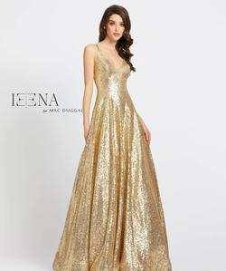 Style 48798 Mac Duggal Gold Size 10 Jewelled V Neck Pageant A-line Dress on Queenly