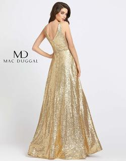 Style 48798 Mac Duggal Gold Size 14 Sleeves V Neck Pageant A-line Dress on Queenly