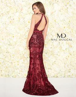Style 48821 Mac Duggal Red Size 4 Halter Plunge Pageant Mermaid Dress on Queenly
