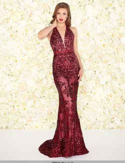 Style 48821 Mac Duggal Red Size 14 Halter Plunge Pageant Mermaid Dress on Queenly