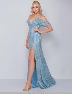 Queenly size 10 Mac Duggal Blue Side slit evening gown/formal dress