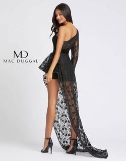 Style 48897 Mac Duggal Black Size 4 Lace Sleeves Tall Height One Shoulder Jumpsuit Dress on Queenly
