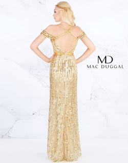 Style 4901 Mac Duggal Gold Size 0 V Neck Pageant Straight Dress on Queenly