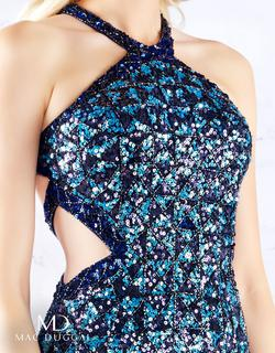 Style 4933 Mac Duggal Blue Size 6 Prom Side slit Dress on Queenly