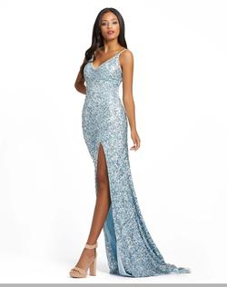Style 5015 Mac Duggal Blue Size 2 Tall Height V Neck Side slit Dress on Queenly