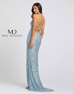 Style 5015 Mac Duggal Blue Size 12 V Neck Pageant Side slit Dress on Queenly