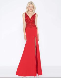 Queenly size 8 Mac Duggal Red Side slit evening gown/formal dress
