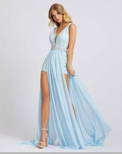 Style 50494 Mac Duggal Blue Size 14 V Neck Interview Silver Jumpsuit Dress on Queenly