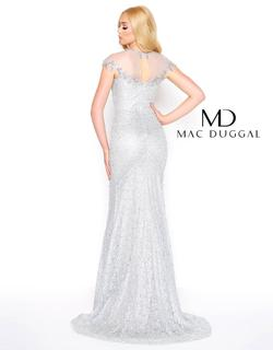 Style 50504 Mac Duggal Silver Size 12 Pageant Cap Sleeve Straight Dress on Queenly