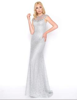Style 50504 Mac Duggal Silver Size 14 Pageant Cap Sleeve Straight Dress on Queenly