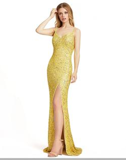Style 5064 Mac Duggal Yellow Size 8 Black Jewelled White Pageant Side slit Dress on Queenly