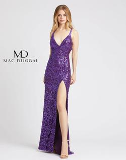 Style 5066 Mac Duggal Purple Size 4 Prom V Neck Pageant Side slit Dress on Queenly