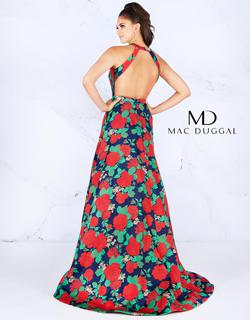 Style 55162 Mac Duggal Red Size 10 High Neck Floral A-line Dress on Queenly