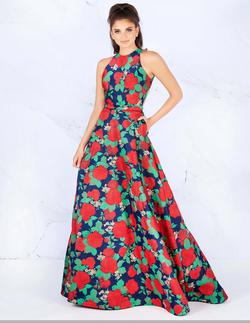 Style 55162 Mac Duggal Red Size 14 Prom Floral A-line Dress on Queenly