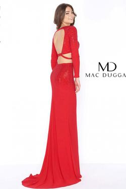 Style 62701 Mac Duggal Red Size 4 Prom Long Sleeve Pageant Straight Dress on Queenly