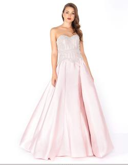 Style 62894 Mac Duggal Pink Size 14 Strapless Pageant Ball gown on Queenly