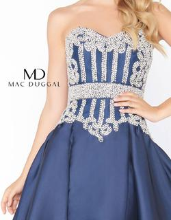 Style 62894 Mac Duggal Blue Size 16 Strapless Pageant Ball gown on Queenly