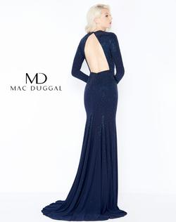 Style 62908 Mac Duggal Blue Size 4 Prom Backless Straight Dress on Queenly