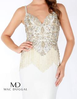 Style 62957 Mac Duggal White Size 4 Jewelled Pageant Mermaid Dress on Queenly