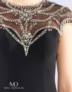 Style 65273 Mac Duggal Black Size 0 Cape Interview Cocktail Dress on Queenly