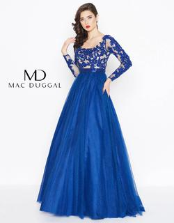 Style 65841 Mac Duggal Blue Size 6 Backless Pageant Ball gown on Queenly