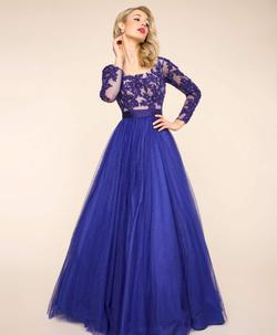 Style 65841 Mac Duggal Blue Size 14 Backless Pageant Ball gown on Queenly
