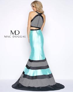 Style 65913 Mac Duggal Blue Size 6 Prom Halter Mermaid Dress on Queenly