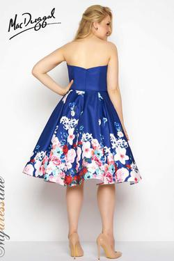 Style 65969 Mac Duggal Blue Size 0 Strapless Floral Cocktail Dress on Queenly