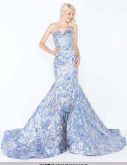 Style 66219 Mac Duggal Blue Size 4 Strapless Pageant Mermaid Dress on Queenly